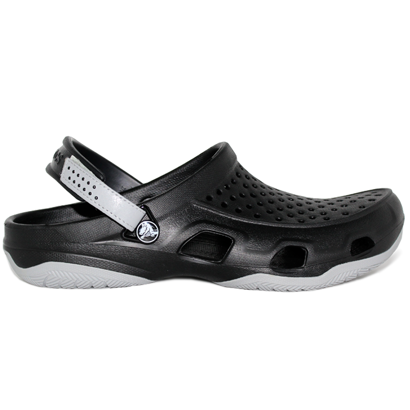 CROCS SWIFTWATER DECK CLOG BLACK/LIGHT GREY