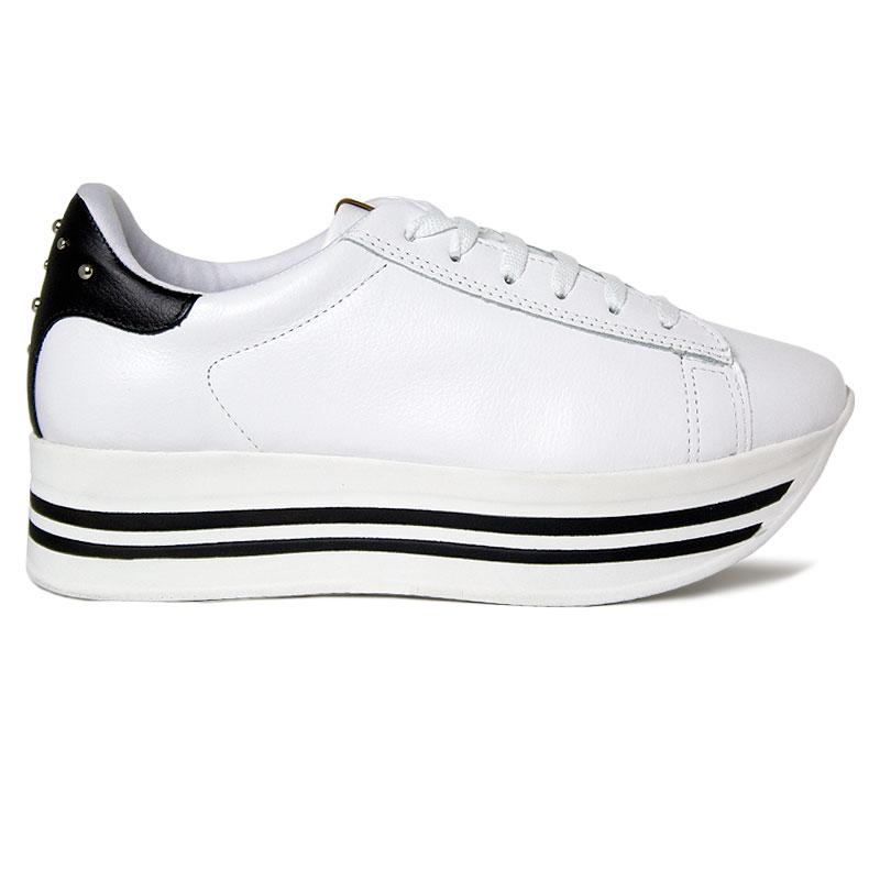 *PLATFORM CONVEXO SNEAKER LACED WHITE/BLACK