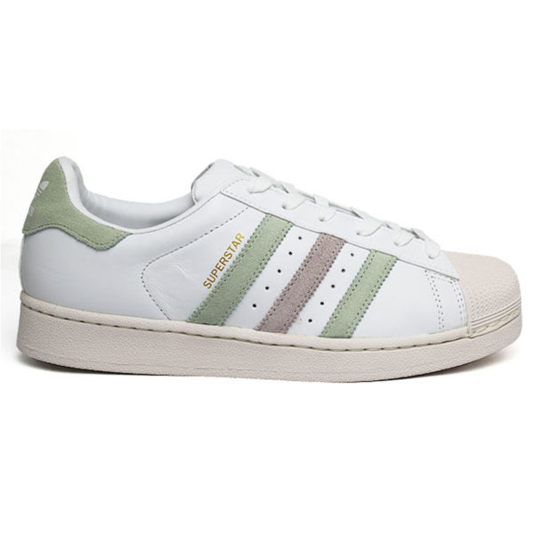 TÊNIS ADIDAS SUPERSTAR W WHITE/LINEN GREEN/ICE PUR