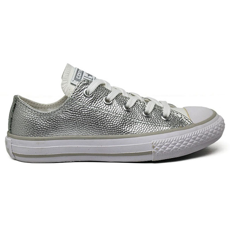 ALL STAR INFANTIL METALLIC LEATHER OX PRATA