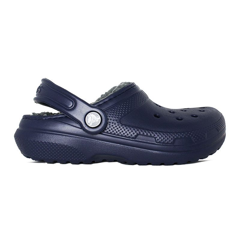 CROCS KIDS CLASSIC LINED CLOG NAVY/CHARCOAL