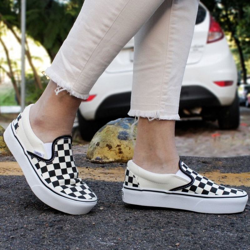 TENIS VANS SLIP ON PLATAFORMA CHECKERBOARD