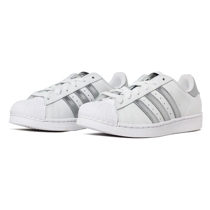Tenis adidas super star branco prata 1