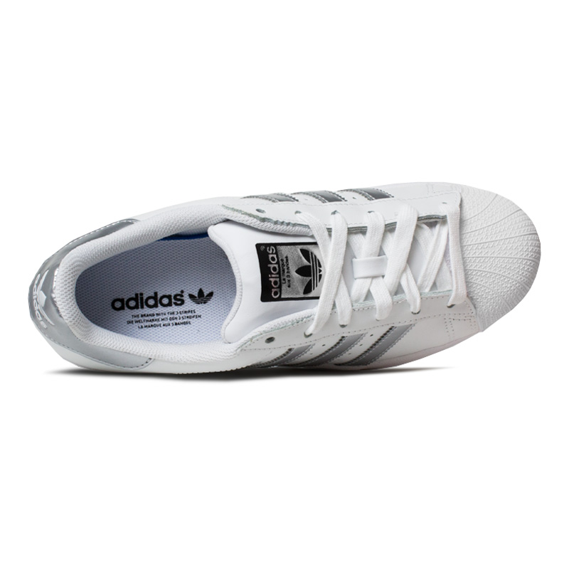 Tenis adidas super star branco prata 2