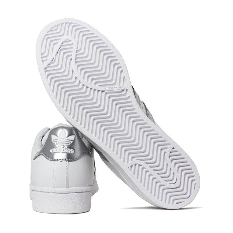 Tenis adidas super star branco prata 3