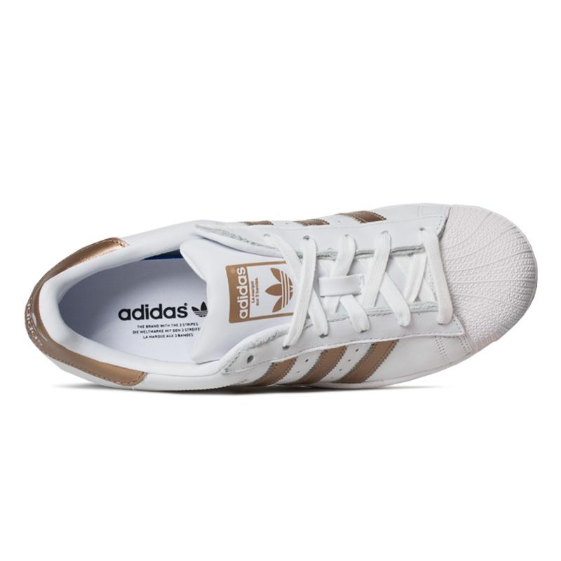 Tenis adidas superstar branco ouro 2