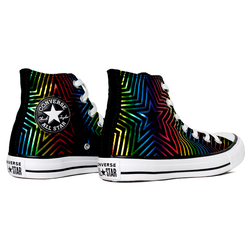 All star patch bordado color neon star hi preto 3