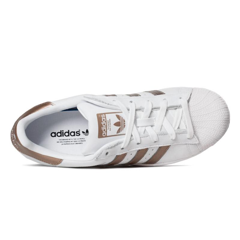 Tenis adidas superstar branco dourado 1