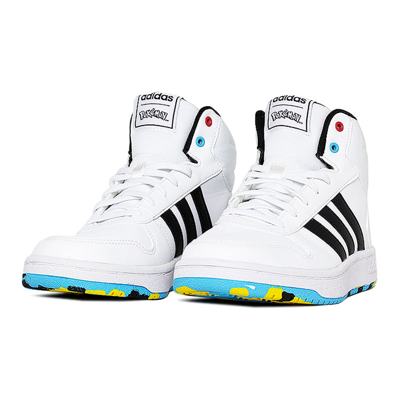 Tenis adidas hoops mid white color 2
