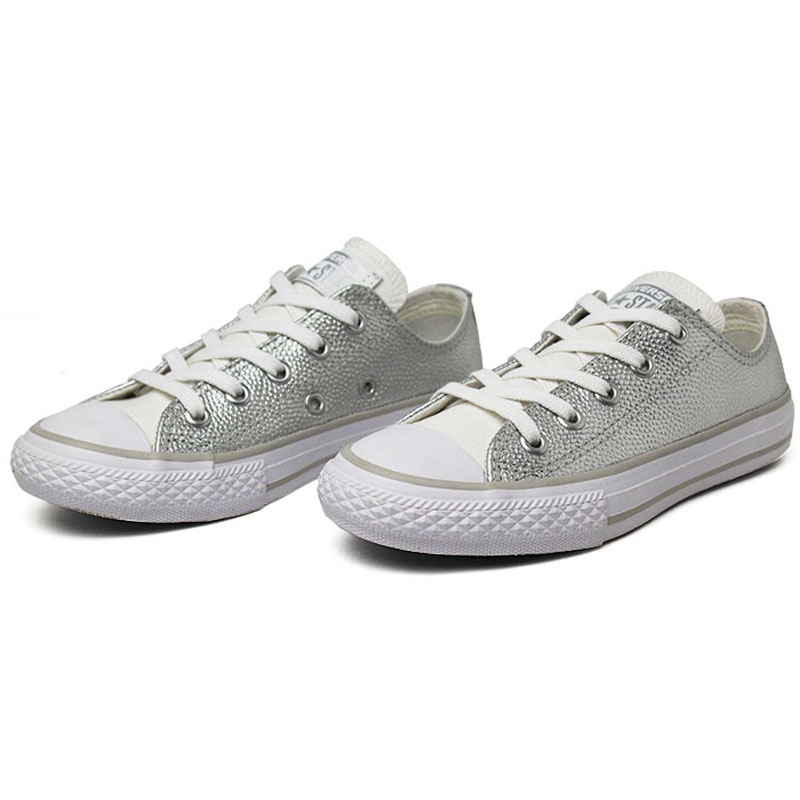 All star infantil metallic leather ox prata 1