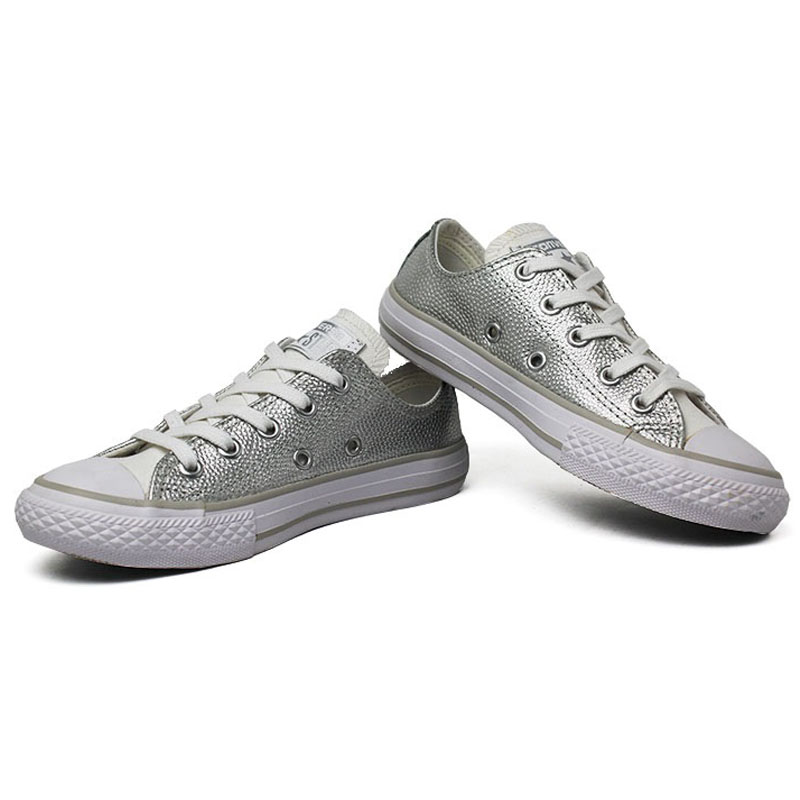 All star infantil metallic leather ox prata 2