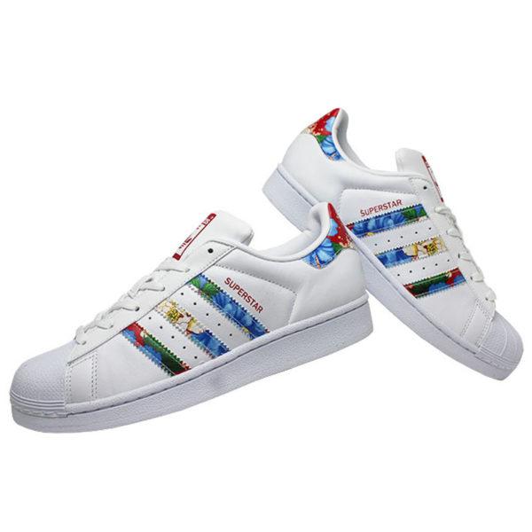 Tenis adidas superstar w farm floral white pow 2