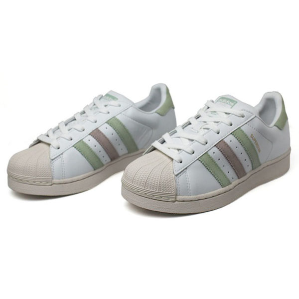 Tenis adidas superstar w white linen green ice pur 1