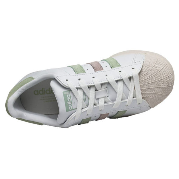 Tenis adidas superstar w white linen green ice pur 3