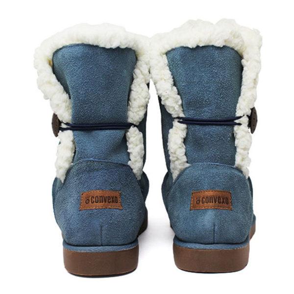 Bota convexo de pelo 1 botao azul jeans 4