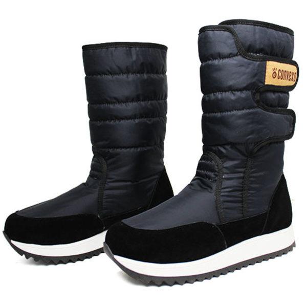 Bota convexo puff boot nylon com pele preto 1