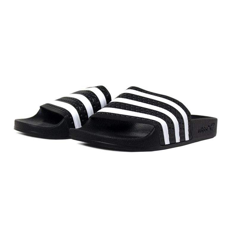 Chinelo adidas adilette black white 1