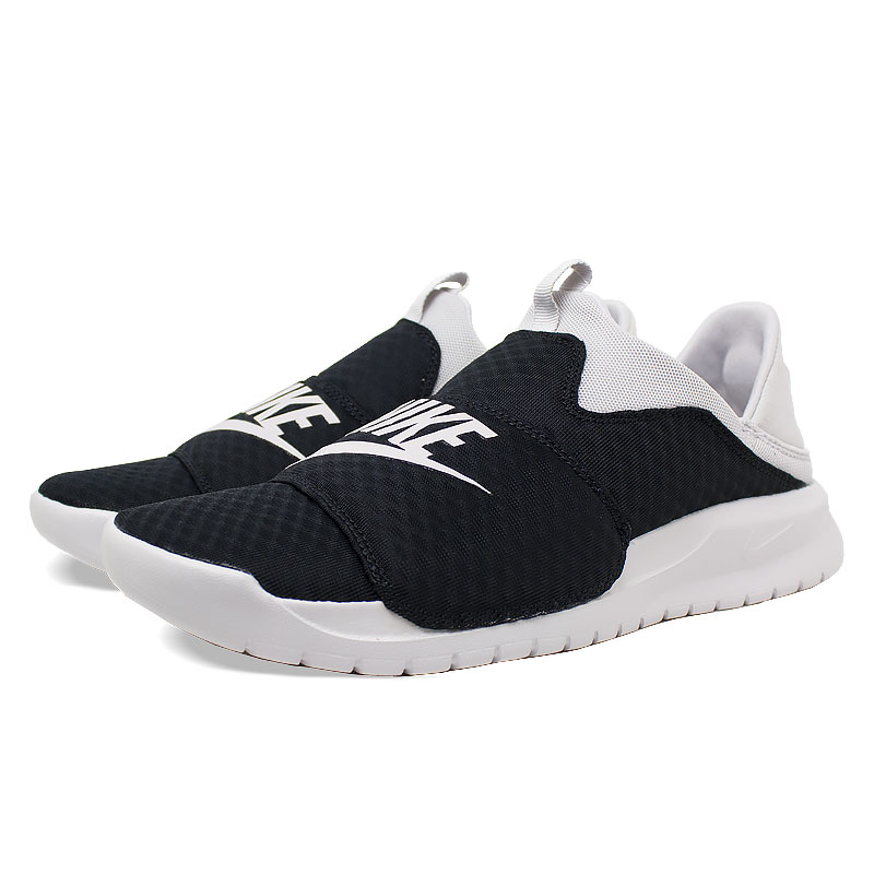 Nike benassi slip on black white 2
