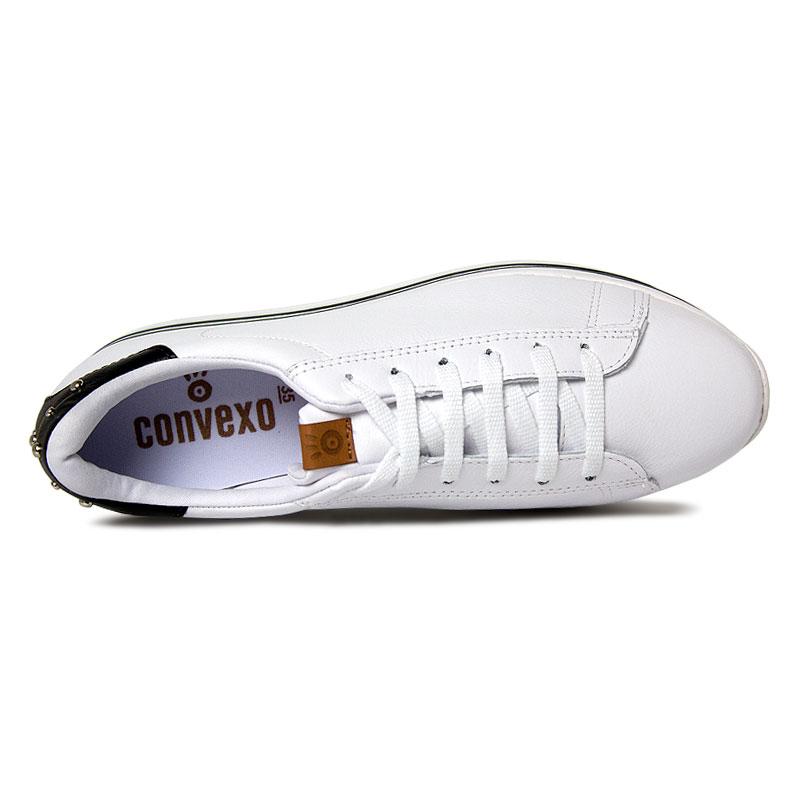 Platform convexo sneaker laced white black 2