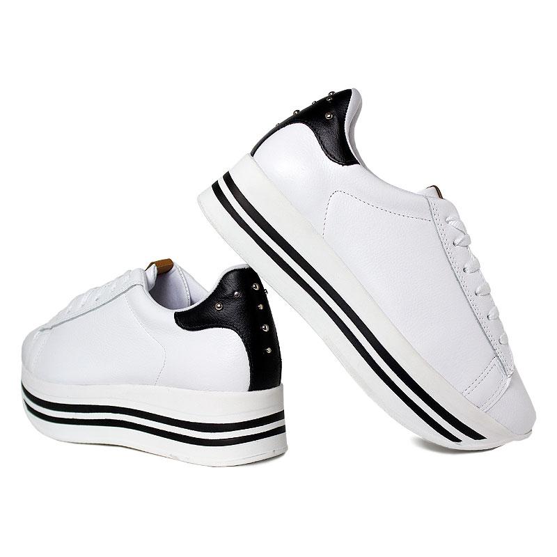 Platform convexo sneaker laced white black 3