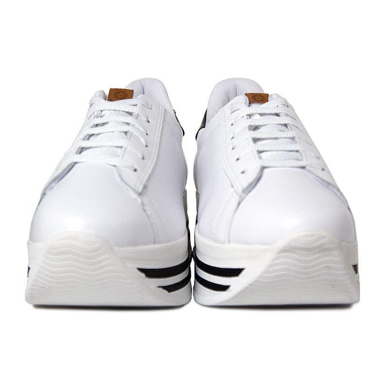 Platform convexo sneaker laced white black 5