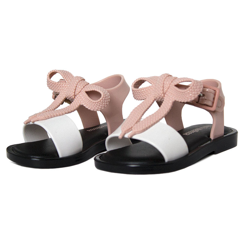 Mini melissa mar sandal rosa branco 2